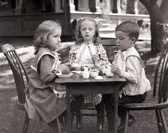 3 Children Have Tea Party w Peaches Fine ARt Photo