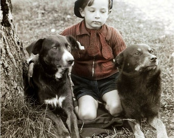 French Beret Boy Hand Knit Sweater w His 2 Best Dogs Tinted Vintage Photo Print