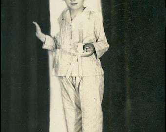 Girl Holds Lit Candle Pajamas Original Vintage Photo Postcard