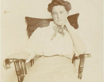Woman as Thinker in Chair Sepia Original vintage photo