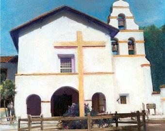 The California Mission San Juan Bautista Hand Tinted Photograph print