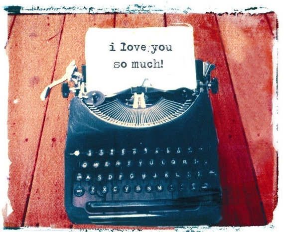 Typewriter Card I Love You SO Much  polaroid transfer photography