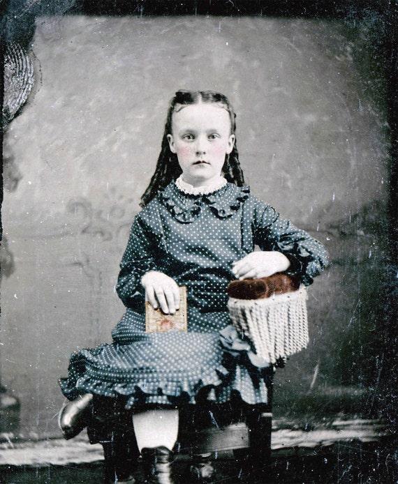Tintype Ringlet Girl polka dot dress Tinted Vintage photograph