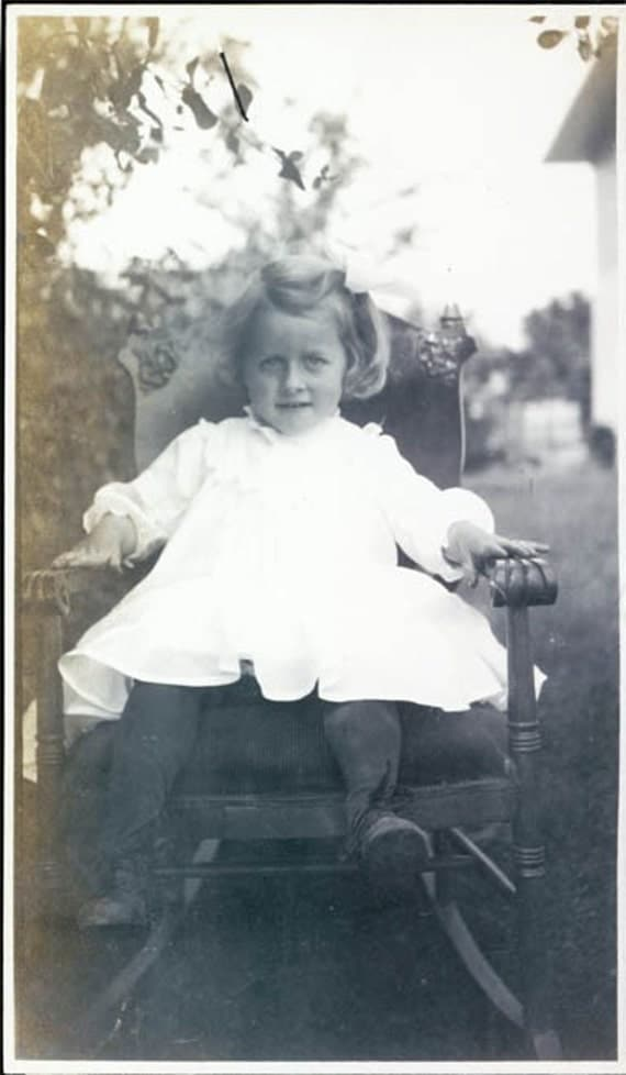 3 yrs old Helen Hathaway White dress in ROcking Chair