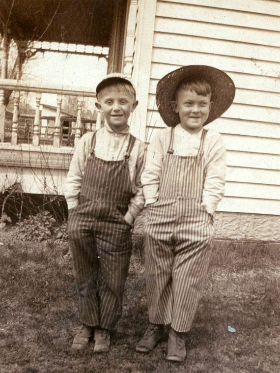 1918 Young Boys By House Striped Overalls Vintage Photo