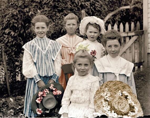 Girls of Springtime Tinted Vintage Photo Print