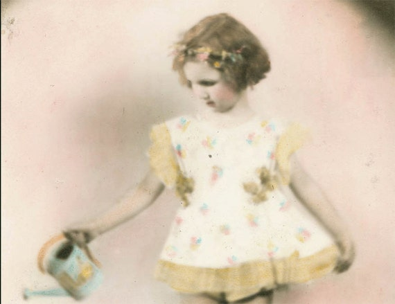 Ringlet Little Girl Tinted w Watering Can 1940