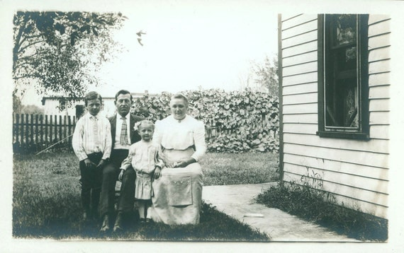 vintage photo postcard Family in the Yard rppc