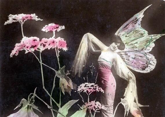 Vintage photo Flower Fairy Photo French postcard carte postale