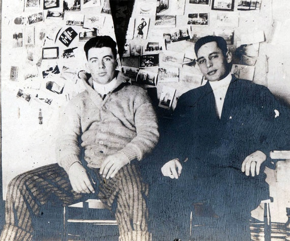 vintage photo College Young Men Sit in Room Photograph Wall behind them rugby sweater