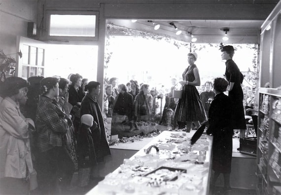 vintage photo 1950s Fashion Show Store Window Onlookers