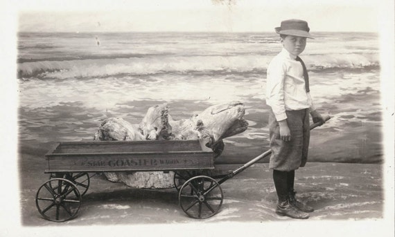 vintage photo Little Boy at Seashore with Star Coaster WAgon RPPC