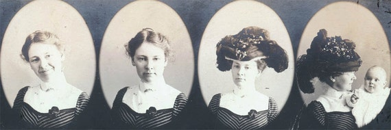 vintage photo Portraits of a LAdy and Mother holds infant 4 vignette strip so nice
