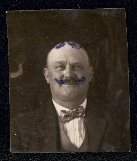 vintage photo Unusual folk art drawing mustache and toupee on Man gem miniature