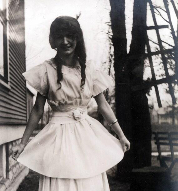 vintage photo 1915 Helene Meyers wears Paper Dress Costume RPPC