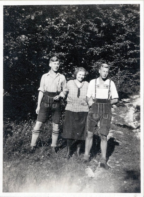 vintage photo German Lederhosen Teen boys and mom