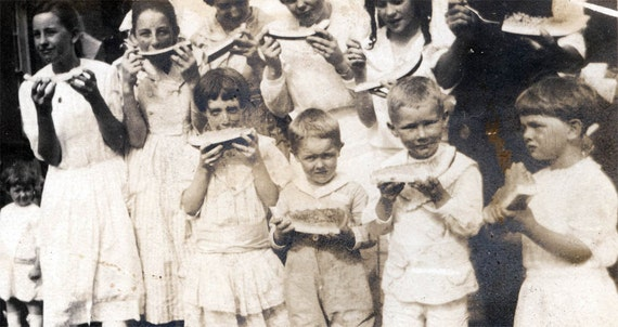 vintage photo Group Children Eating Watermelon
