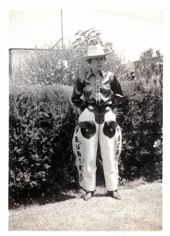 vintage photo Cowgirl Bobie Leather White Chaps w Her Name