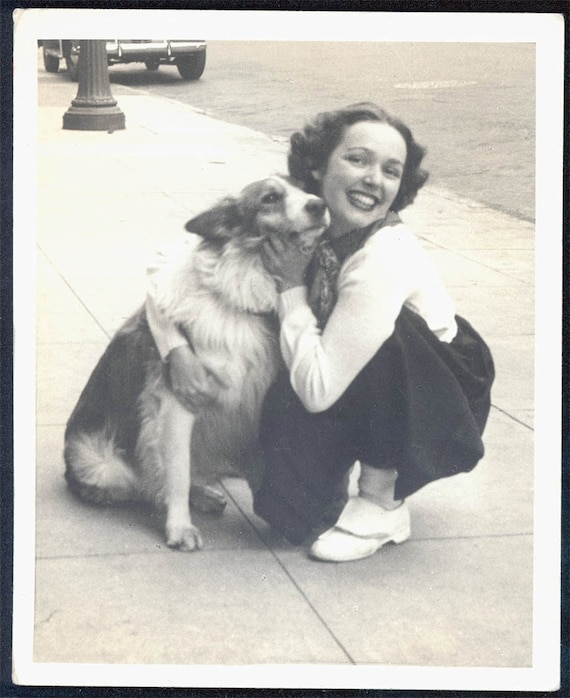 vintage photo Lady Loves Collie her beautiful dog 1938