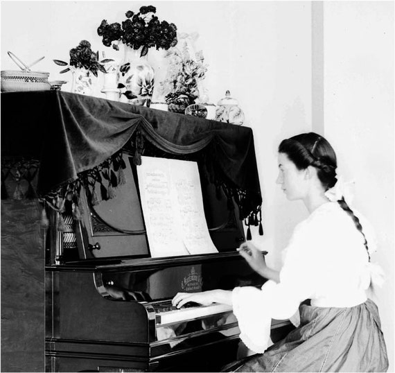 Victorian Young Lady Plays Piano Cat Rug Vintage Photo Print