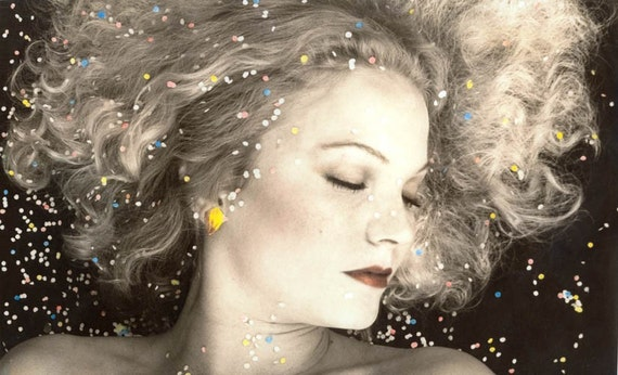 Dreamy Young Woman Dreams w Flower Petals Hand Colored Black and White Photograph