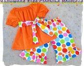 Custom Children Boutique Unique Handmade Cute Infant Baby Girl Clothing Orange Peasant Dress Top w/ Flannel Rainbow Polka Dots Ruffled Pant Outfit Set 3 6 9 12 18 24 month 2T 2 3T 3 4T 4 5T 5 6 7 8