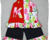Custom Boutique Clothing Christmas Aline Tunic Dress Top Denim Ruffle Pant Outfit Set 3 6 9 12 18 24 month size 2T 2 3T 3 4T 4 5T 5 6 7 8
