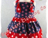 Custom Boutique Baby Girl Clothes Patriotic Red White Blue Tiered Knot Tie Dress 3 6 9 12 18 24 month size 2T 2 3T 3 4T 4 5T 5 6 7 8