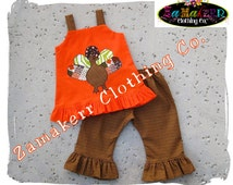 Fall Thanksgiving Turkey Dress Custom Boutique Clothing Pageant Girl Baby Gift Birthday Size 3 6 9 12 18 24 month size 2T 3T 4T 5T 6 7 8