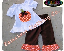 Girl Fall Thanksgiving Pumpkin Outfit Custom Boutique Clothing Peasant Dress Top Ruffle Pant Set 3 6 9 12 18 24 month size 2T 3T 4T 5T 6 7 8