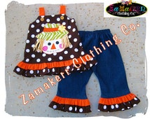 Cute Fall Thanksgiving Scarecrow Halloween Girl Clothing Outfit Custom Boutique Toddler Baby Set 3 6 9 12 18 24 month size 2T 3T 4T 5T 6 7 8