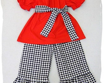 Custom Boutique Clothing Red Peasant Dress Top Black White Gingham Ruffle Pant Outfit Set 3 6 9 12 18 24 month 2T 2 3T 3 4T 4 5T 5 6 7 8