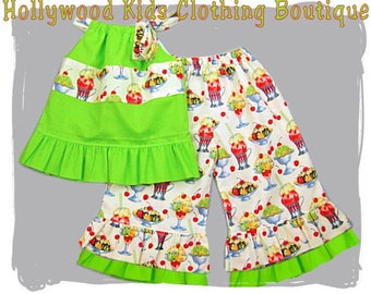 Baby Girl Clothing Birthday Ice Cream Sundae Pillowcase Top  Ruffled Pant Outfit Set 3 6 9 12 18 24 month size 2T 2 3T 3 4T 4 5T 5 6 7 8