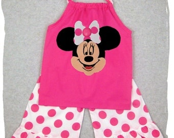 Custom Children Boutique Unique Handmade Cute Little Newborn Infant Toddler Baby Girl Clothes Clothing Pink Minnie Mouse Pillowcase Tunic Dress Top Matching Hot Pink Polka Ruffle Pant Bottom Outfit Set 3 6 9 12 18 24 month size 2T 2 3T 3 4T 4 5T 5 6 7 8