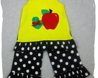 Custom Boutique Clothing Aline Tunic Top Black Polka Dot Ruffle Pant Outfit Set 3 6 9 12 18 24 month size 2T 2 3T 3 4T 4 5T 5 6 7 8