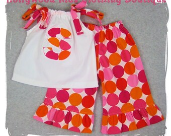 Custom Boutique Girl Clothes White Pillowcase Top Disco Dot Ruffle Pant Outfit Set 3 6 9 12 18 24 month size 2T 2 3T 3 4T 4 5T 5 6 7 8