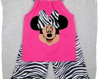 Custom Boutique Girl Clothes Zebra Minnie Mouse Pillowcase Top Ruffle Pant Outfit Set 3 6 9 12 18 24 month size 2T 2 3T 3 4T 4 5T 5 6 7 8