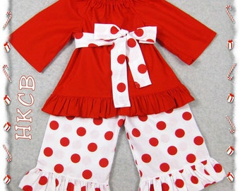 Custom Boutique Clothing Christmas Red Peasant Top Red Polka Dot Ruffle Pant Outfit Set 3 6 9 12 18 24 month size 2T 2 3T 3 4T 4 5T 5 6 7 8