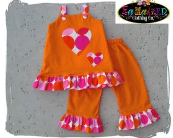 Boutique Baby Girl Clothing Disco Dot Aline Tunic Top Orange Ruffle Pant Outfit Set 3 6 9 12 18 24 month size 2T 2 3T 3 4T 4 5T 5 6 7 8