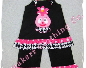 Custom Boutique Baby Girl Clothing Yo Gabba Gabba Top Ruffle Pant Bottom Outfit Set Size 3 6 9 12 18 24 month size 2T 2 3T 3 4T 4 5T 5 6 7 8