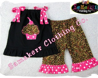 Custom Boutique Clothing Girl Birthday Cupcake Leopard  Top Pant Outfit Set Baby 3 6 9 12 18 24 month size 2T2  3T 4 4T 5T 5 6 7 8 t T