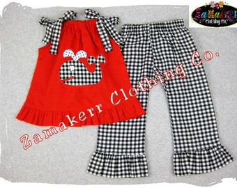 Custom Boutique Clothing Red Pillowcase Top Gingham Ruffle Pant Bottom Outfit Set 3 6 9 12 18 24 month size 2T 2 3T 3 4T 4 5T 5 6 7 8