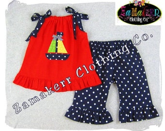 Custom Boutique Clothing Red Pillowcase Dress Top Navy Polka Dot Ruffle Pant Bottom Set 3 6 9 12 18 24 month size 2T 2 3T 3 4T 4 5T 5 6 7 8