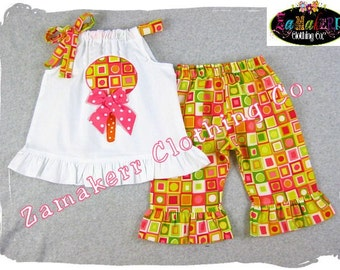 Birthday Lollipop Outfit Custom Boutique Clothing Gift Summer Halter Candy Capri Short Pant Set 3 6 9 12 18 24 month size 2T 3T 4T 5T 6 7 8