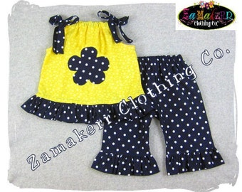 Custom Boutique Girl Clothes Yellow Pillowcase Top Navy Polka Ruffle Pant Outfit Set 3 6 9 12 18 24 month size 2T 2 3T 3 4T 4 5T 5 6 7 8