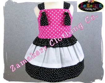 Custom Boutique Clothing Black N Pink Dots Tiered Twirl Knot Tie Tunic Dress 3 6 9 12 18 24 month size 2T 2 3T 3 4T 4 5T 5 6 7 8