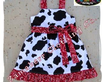 Custom Boutique Clothing Cute Girl Cow N Bandana Aline Jumper Ruffle Dress 3 6 9 12 18 24 month size 2T 2 3T 3 4T 4 5T 5 6 7 8