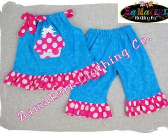 Custom Boutique Clothing Aqua Cupcake Pillowcase Tunic Dress Top Ruffle Pant Outfit Set 3 6 9 12 18 24 month size 2T 2 3T 3 4T 4 5T 5 6 7 8