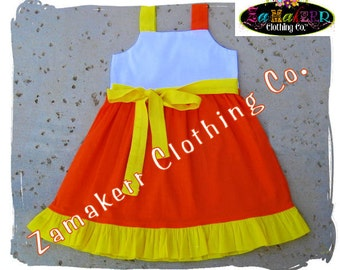 Custom Boutique Clothing Girl Halloween Fall Candy Corn Jumper Dress Outfit Set Toddler Infant 3 6 9 12 18 24 month size 2T 3T 4T 5T 6 7 8