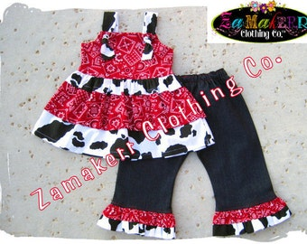 Girl Cow Outfit Custom Boutique Clothing Cow N Bandana Top Ruffle Pant Set 3 6 9 12 18 24 month size 2t 2 3t 3 4t 4 5t 5 6 7 8